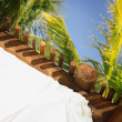 Palm Branches Over A Beach Hut In Cancun, Mayan Riviera, Mexico — Stock Photo