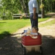 Grandpa Pulling Granddaughter In A Wagon — Stock Photo