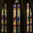 Gothic Stained Glass Windows In Spanish Church Of San Severino, Balmaseda, The Basque Country, Spain — Stock Photo