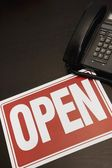 Open Sign With A Telephone — Stock Photo
