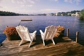Chairs On Deck, Adirondack Park, USA — Stok fotoğraf