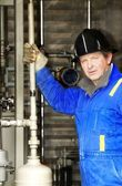 Industrial Worker With Oilfield Equipment — Stock Photo