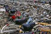 Bicycles Parked In A Row — Stock Photo