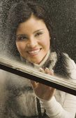 Looking Out A Frosted Window — Stock Photo