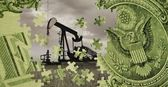 Pumpjack Composed With An American Dollar Bill — Stock Photo