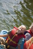 Overhead View Of A Boy Boating — Stock Photo