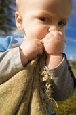 Boy With Blanket — Stock Photo