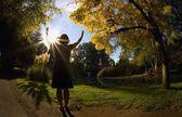 Woman Praying Outdoors — Стоковое фото