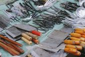 Knives And Scissors For Sale At A Market — Foto Stock