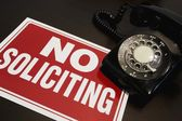 No Soliciting Sign With A Telephone — Stock Photo