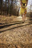 Female Walking Down A Path — Stock Photo