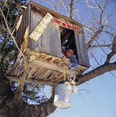 A Boy And His Dog In A Tree Fort — Stock Photo