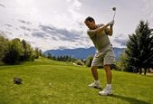 Golfer Taking His First Shot — Stock Photo
