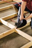 Carpenter Working With Power Tool — Fotografia Stock