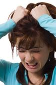 Woman Holding Head In Anguish — Stock Photo