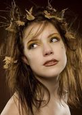 Woman Dressed Up As Autumn — Stock Photo