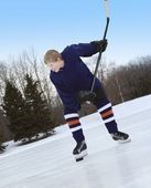 Boy Ready For Slap Shot — Stock Photo
