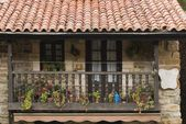 Wooden Balcony On Stone House In Village Of Barcena Mayor, Cantabria, Northern Spain — Stock Photo