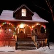 House With Christmas Lights — Stok fotoğraf