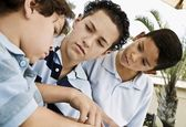 Three Boys Working Together — Stock Photo