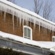 Icicles Hanging Off Rain Gutters — Stock Photo