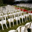 Rows Of White Chairs Outdoors — Stock Photo