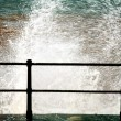 Sidmouth, Devon, England, United Kingdom. Waves Crashing Against The Seawall — Stock Photo #31797753