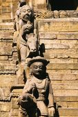 Statues Beside Stairs, Siddhi Lakshmi Temple, Bhaktapur, Nepal — Photo