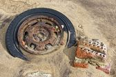 Old Tire In The Sand — Stock Photo