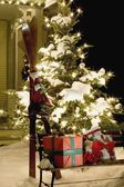 Christmas Gifts And Skis — Stock Photo