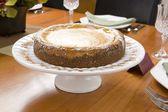 Cheesecake on white dish — Stock Photo