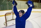 Hockey Player Celebrating A Goal — Stock Photo