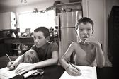 Boys Drawing At Kitchen Table — Stock Photo