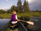 Girl Canoeing — Stock Photo