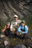 Father And Sons In A Mountain Fly Fishing River, Nordegg, Alberta, Canada — Stock Photo
