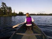 Woman Canoeing — Stock Photo