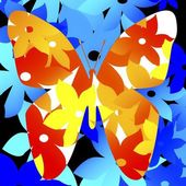 Floral Pattern In Shape Of Butterfly — Stock Photo
