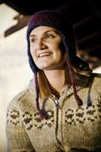 Woman Wearing Toque And Sweater — Stock Photo