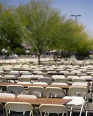 Large Amount Of Empty Chairs And Tables Sitting Outside — Stock Photo
