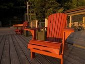 Adirondack Chairs On A Dock, Lake Of The Woods, Ontario, Canada — Foto Stock