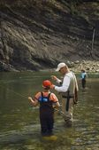 Father And Sons Fly Fishing In Mountain River — Stock Photo