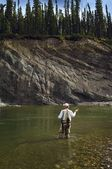 Man Fly Fishing In Mountain River — Stock Photo