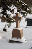 Cemetery Covered In Snow — Stock Photo