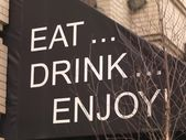 Message On Restaurant Canopy, Toronto, Ontario, Canada — Stock Photo