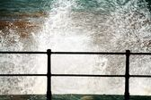 Sidmouth, Devon, England, United Kingdom. Waves Crashing Against The Seawall — Stock Photo
