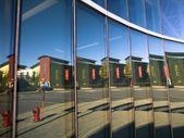 City Scene Reflected In Windows, The Forks, Winnipeg, Manitoba, Canada — Stock Photo