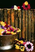 Historic Books And Floral Arrangement — Stock Photo