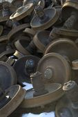 Rusted And Piled Up Train Wheels — Stock Photo