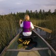 Girl Canoeing — Stock Photo