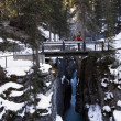 Person Standing On A Bridge, Maligne Canyon, Jasper National Park, Alberta, Canada — Stock Photo